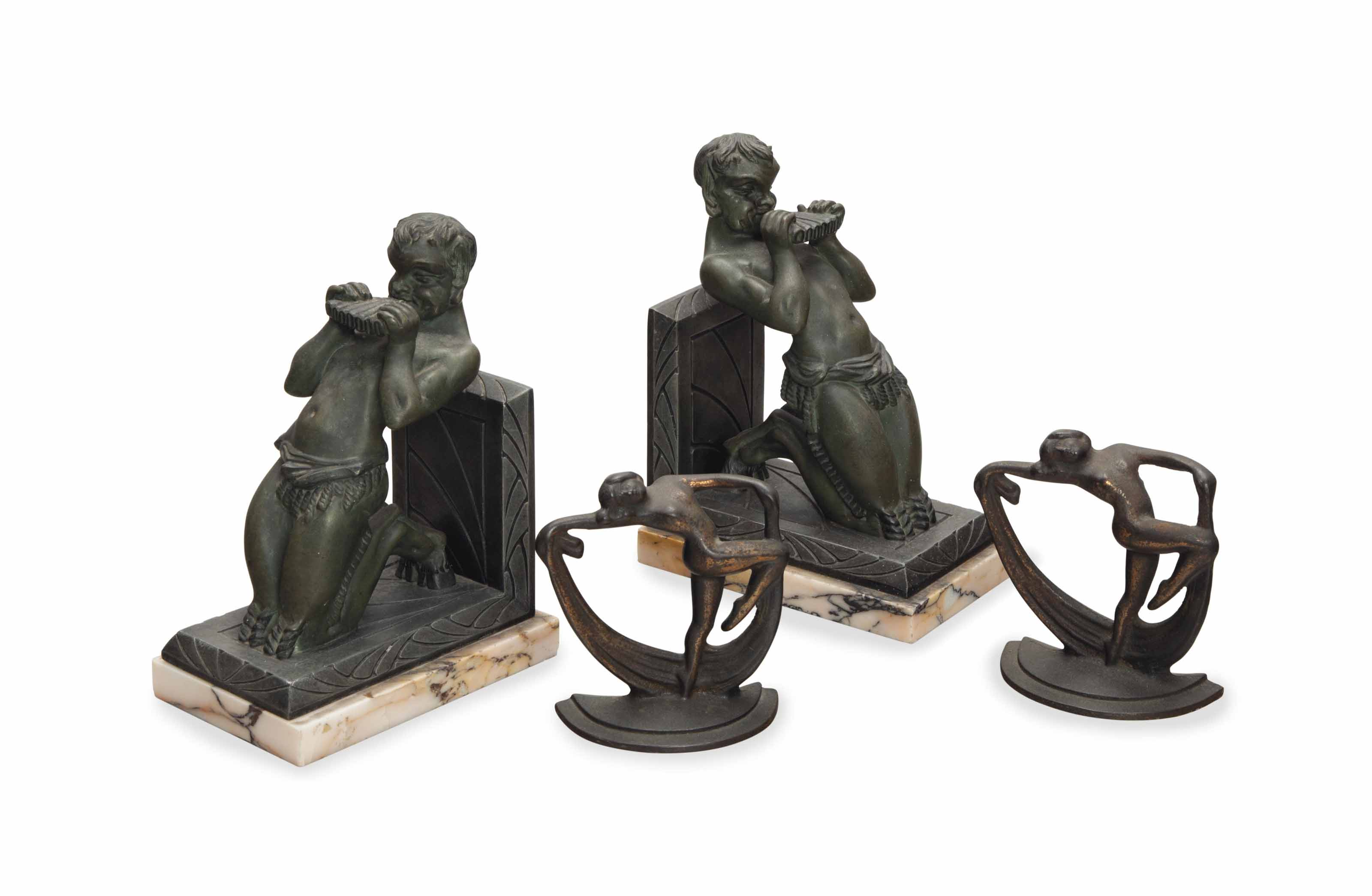 TWO PAIRS OF METAL FIGURAL BOO