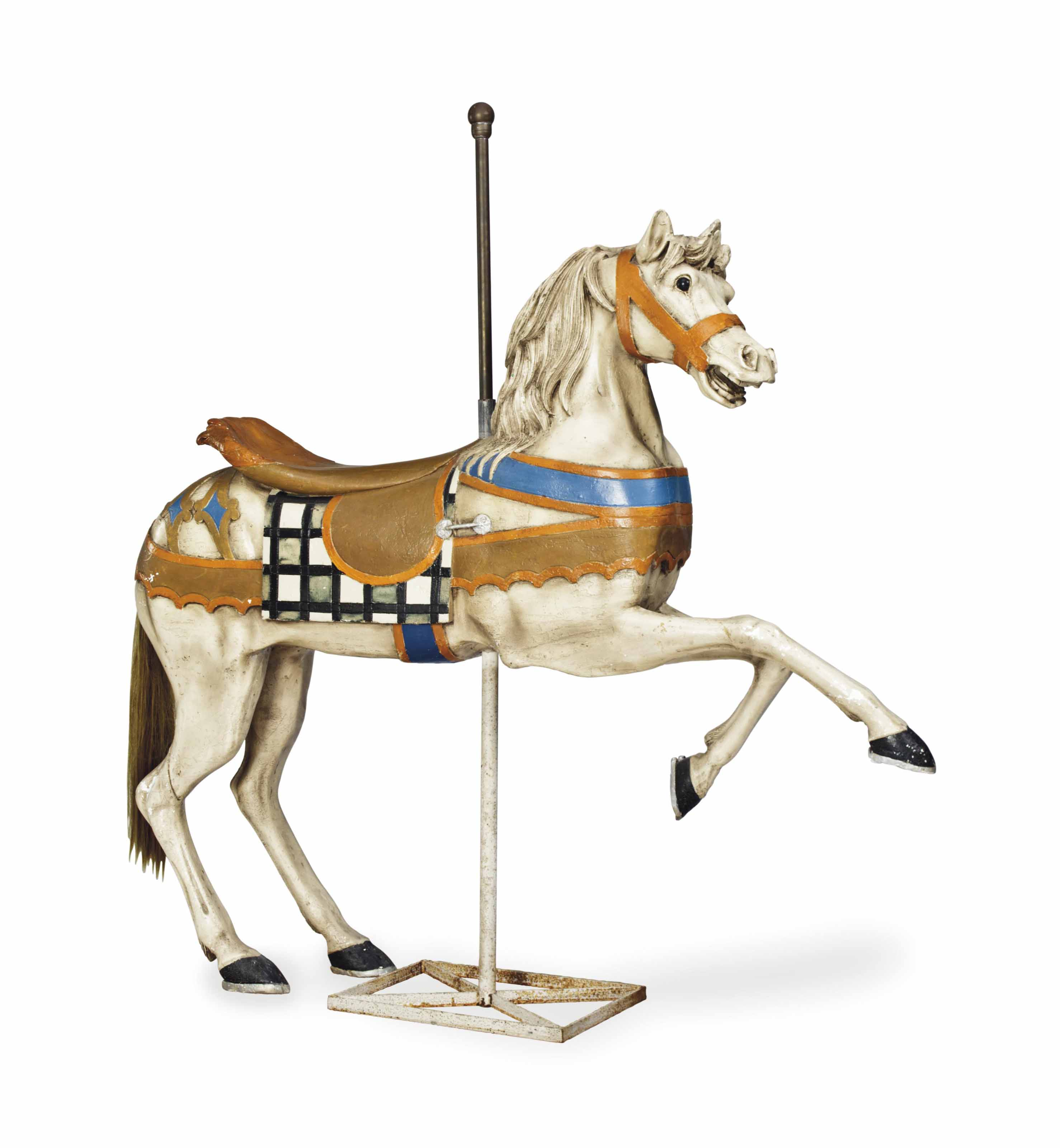 A POLYCHROME-PAINTED CAROUSEL HORSE,
