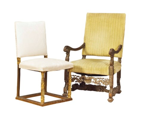 TWO AMERICAN GILTWOOD CHAIRS,