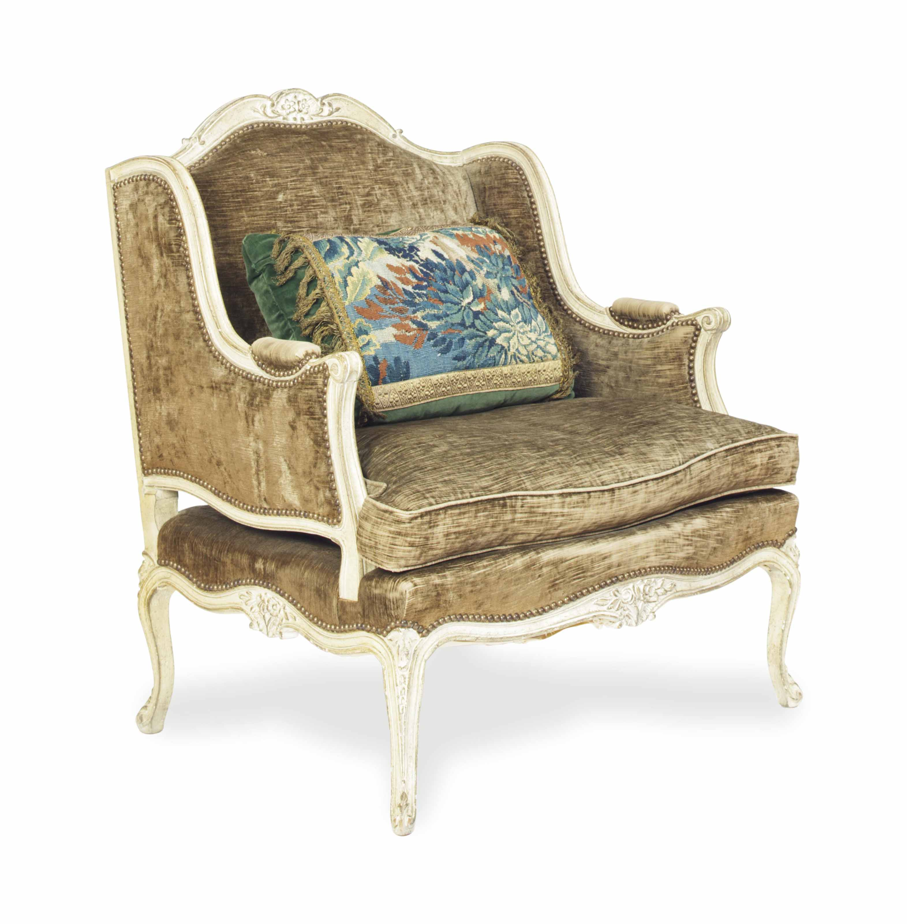 A LOUIS XV STYLE GREY-PAINTED BERGERE,