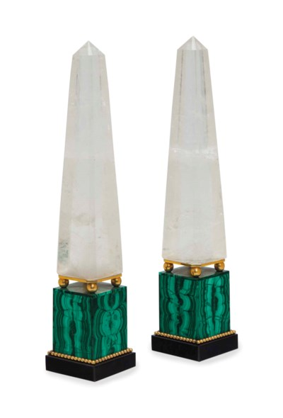 A PAIR OF ROCK CRYSTAL AND MAL