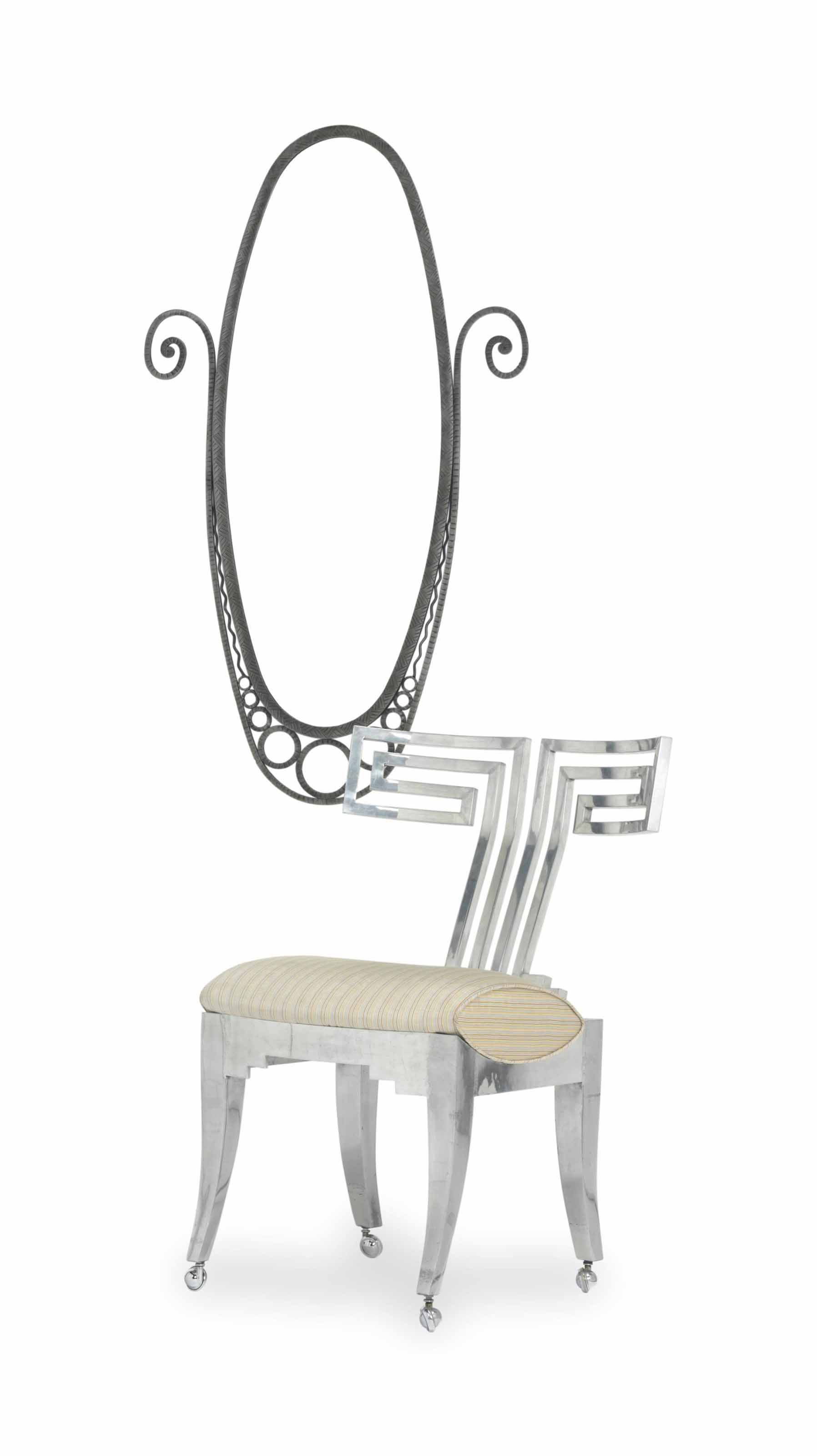 A CHROMED METAL SIDE CHAIR AND A WROUGHT IRON MIRROR,