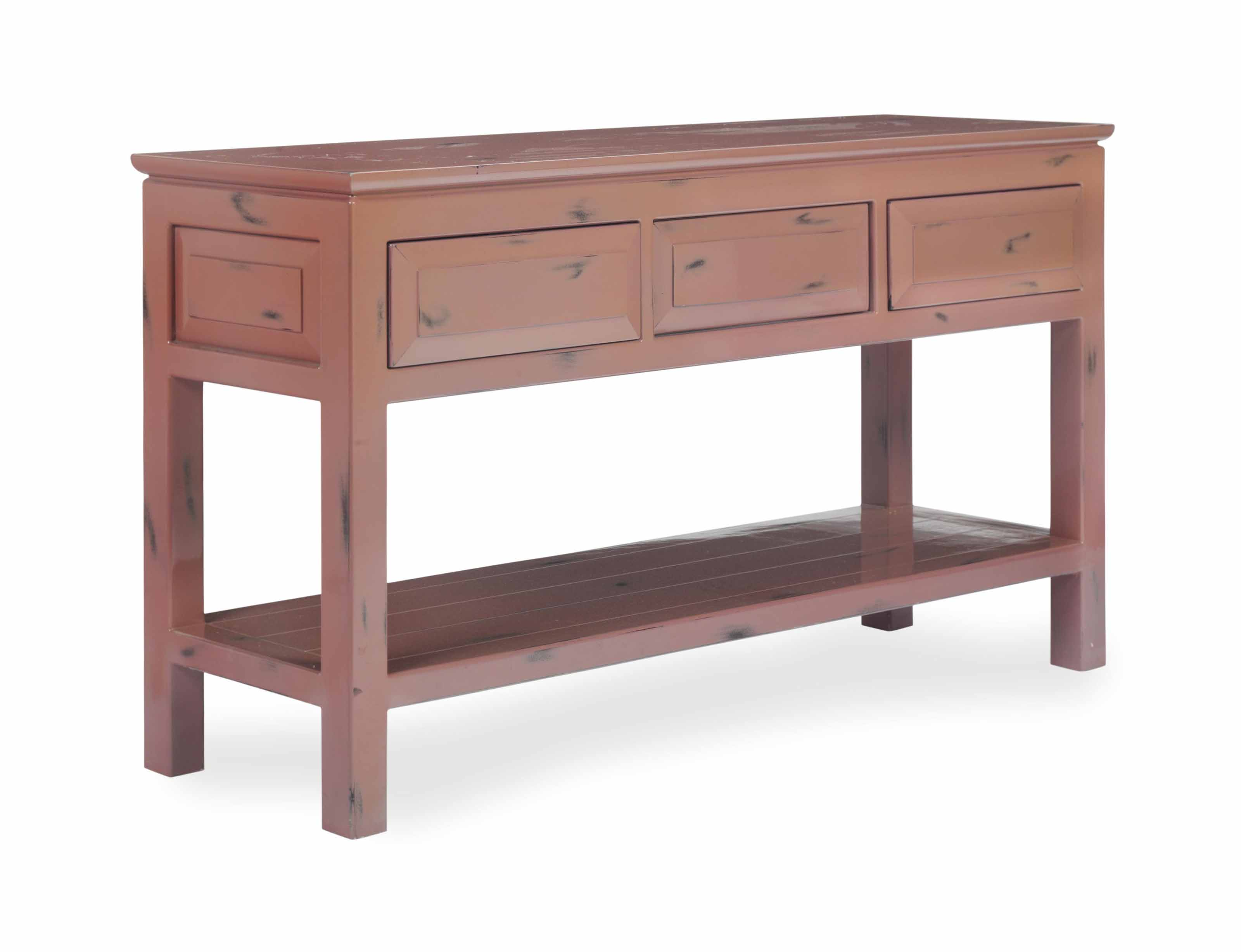 A PLUM LACQUERED CONSOLE TABLE