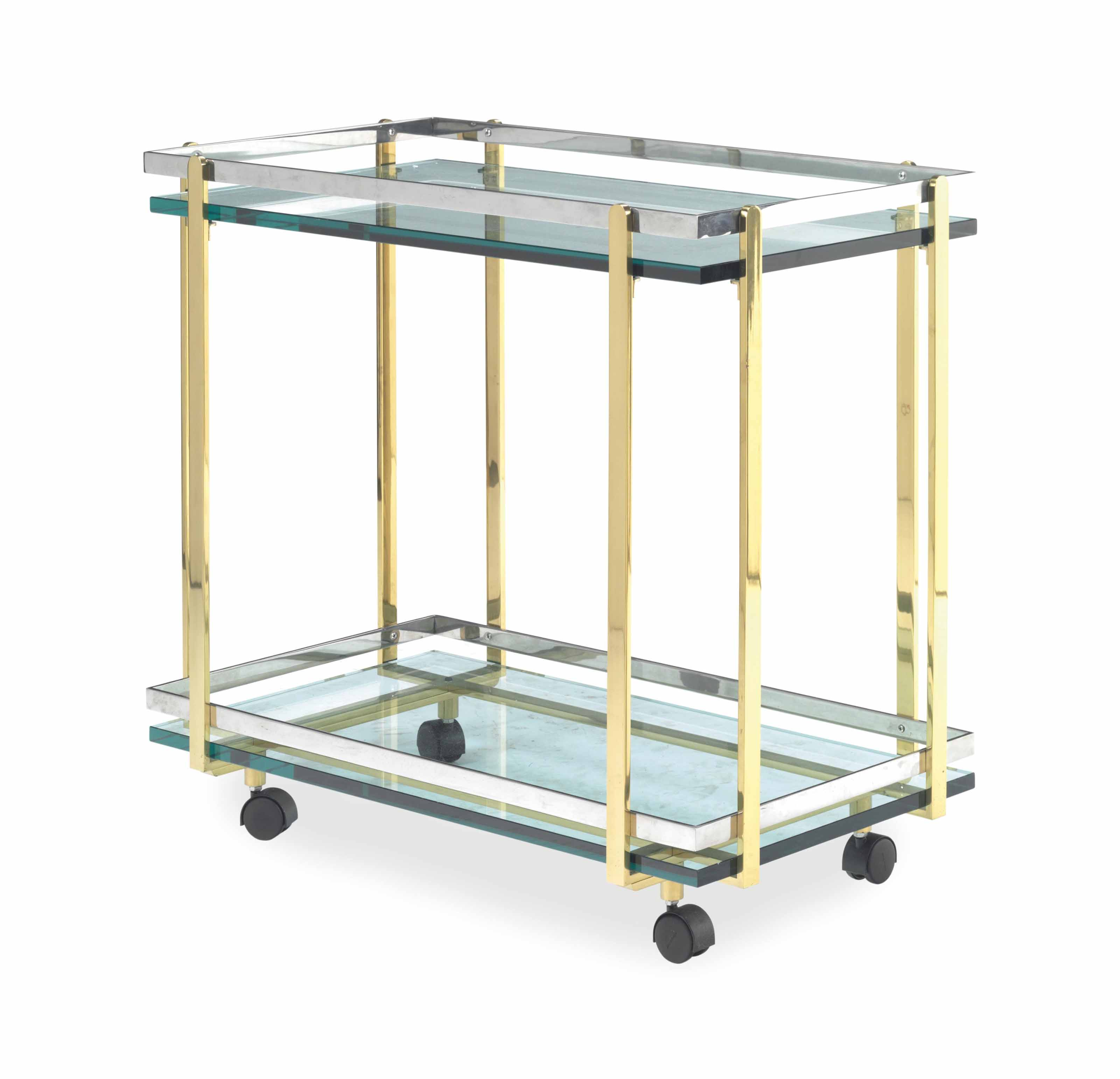 A CHROMED AND GILT METAL-MOUNTED GLASS BAR CART,