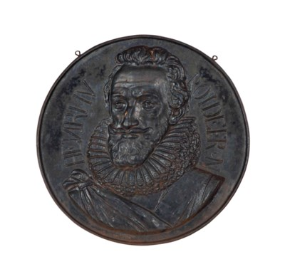 A CAST IRON PLAQUE OF HENRY IV