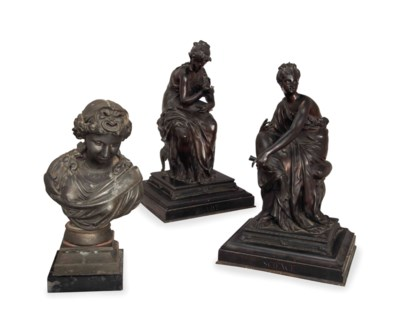 TWO FRENCH BRONZE FIGURES OF S