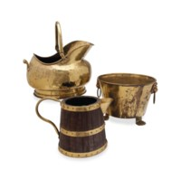 TWO AMERICAN BRASS FIRESIDE BUCKETS,