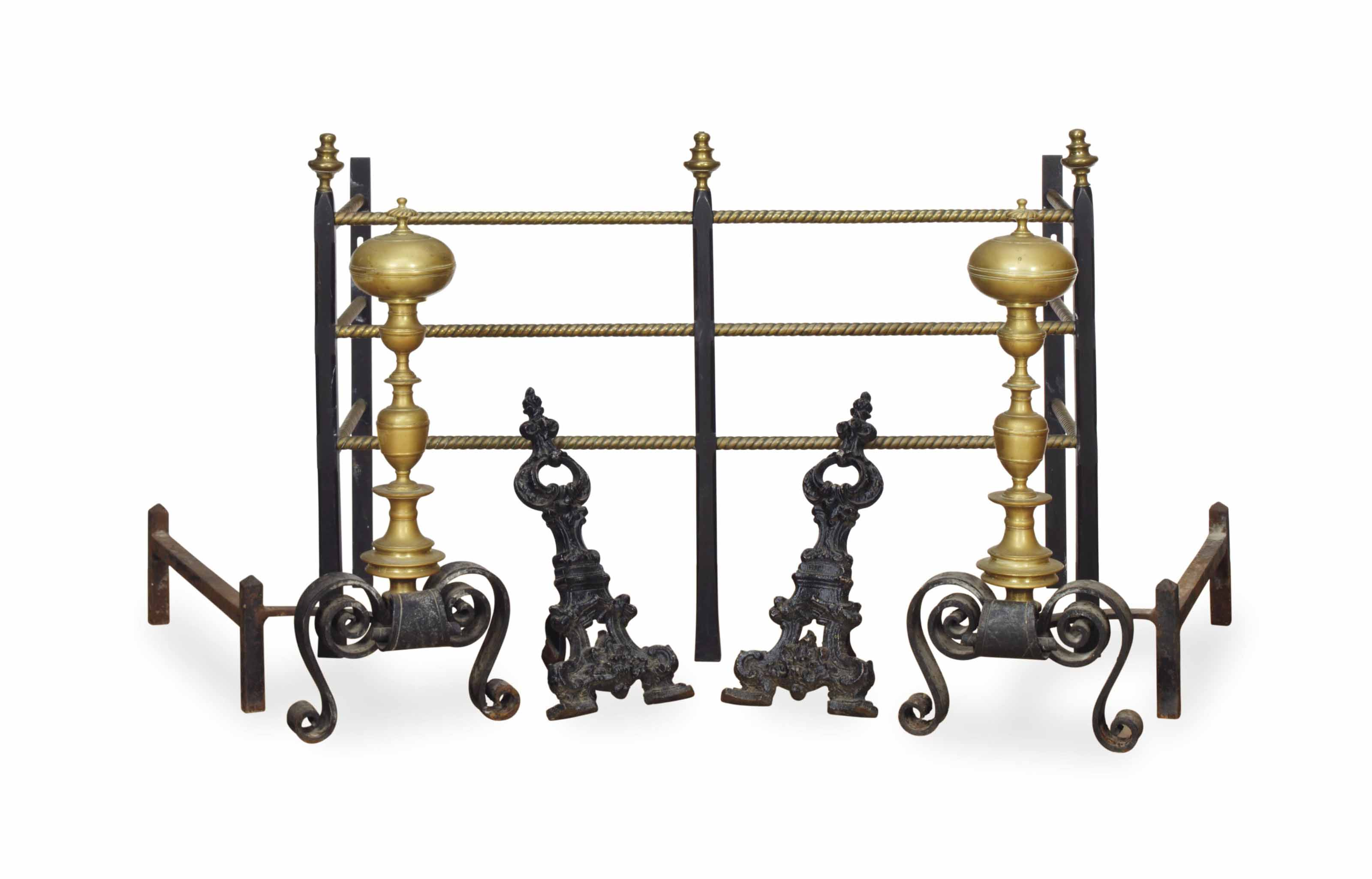 A PAIR OF BRASS AND IRON LARGE