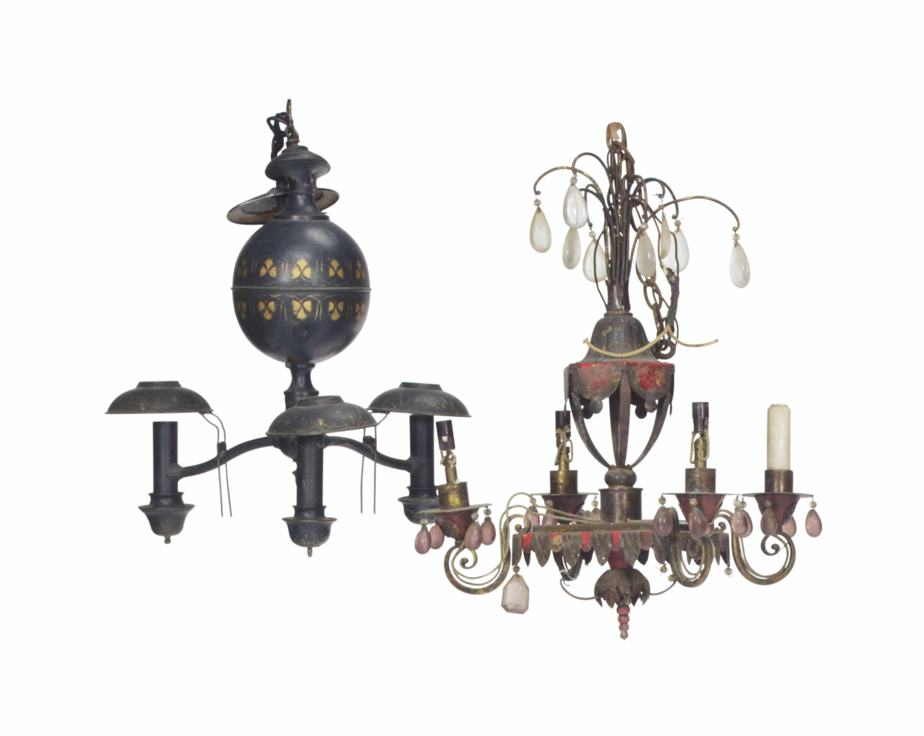TWO TOLE PEINTE CHANDELIERS,