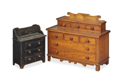 TWO AMERICAN MINIATURE CHESTS-