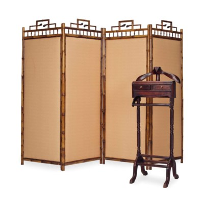 A BAMBOO AND UPHOLSTERED FOUR-