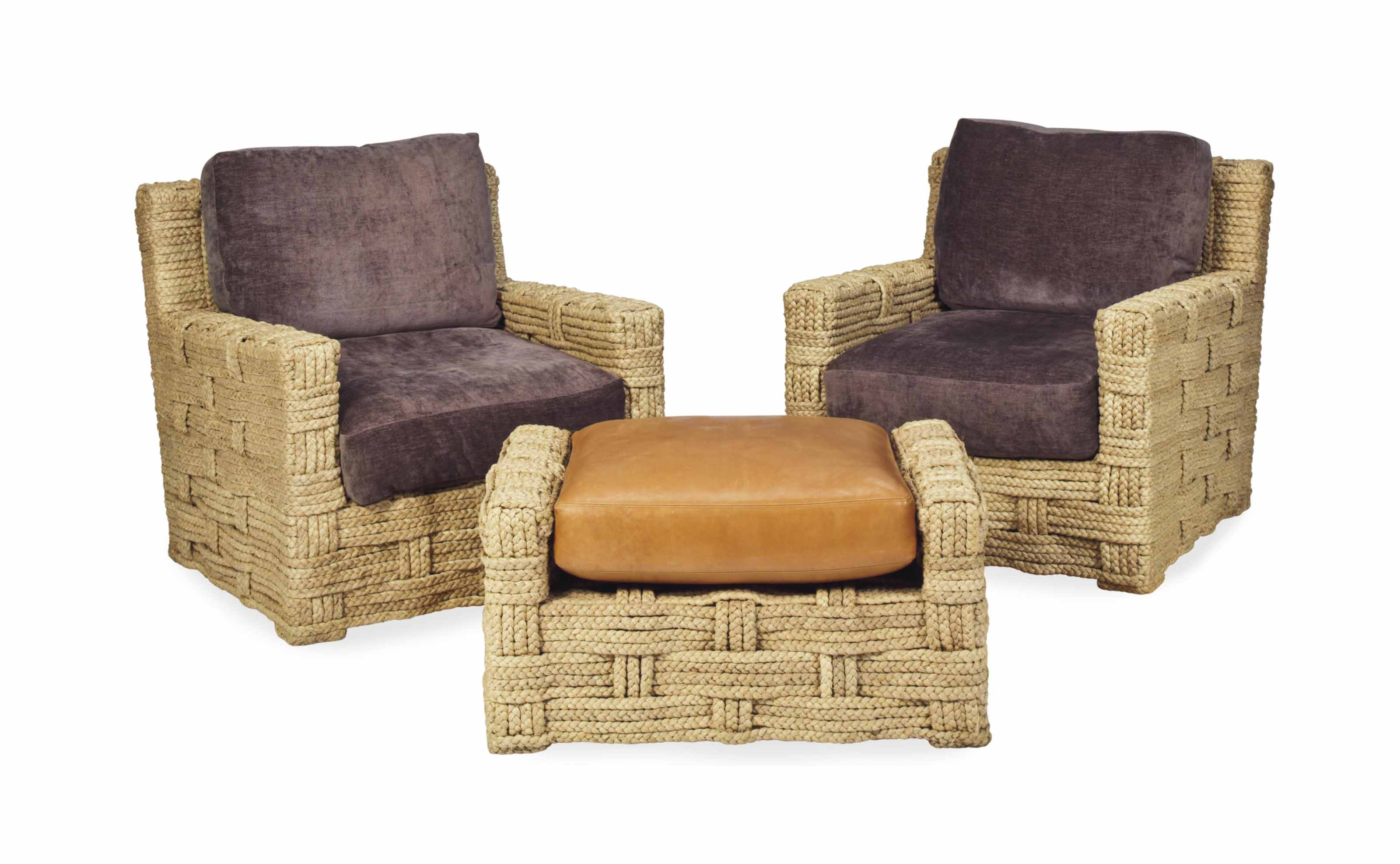 A PAIR OF ROPE-WRAPPED ARMCHAIRS AND AN OTTOMAN,