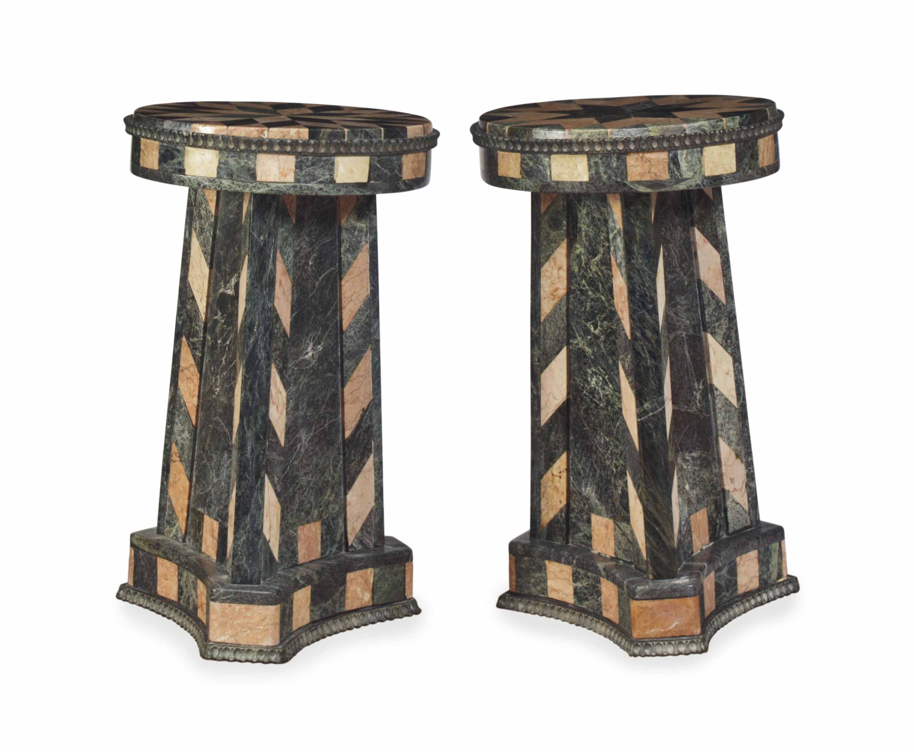 A NEAR PAIR OF CONTINENTAL BRONZE-MOUNTED INLAID-MARBLE VENEERED SIDE TABLES,