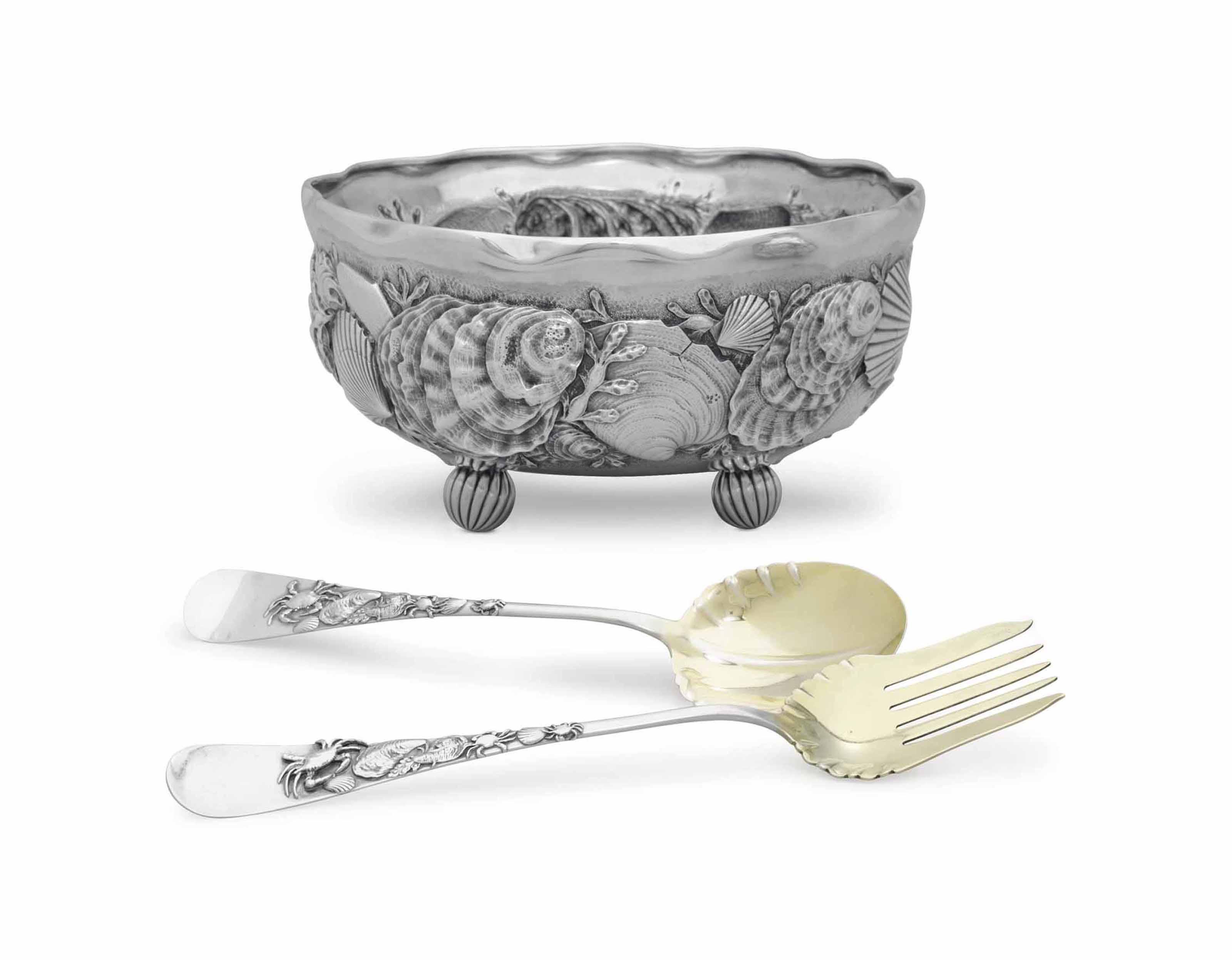 A SILVER BOWL WITH PARCEL-GILT SILVER FORK AND SPOON