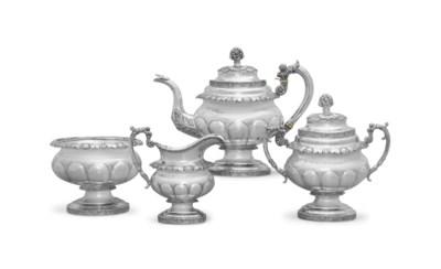 A SILVER FOUR-PIECE TEA SERVIC