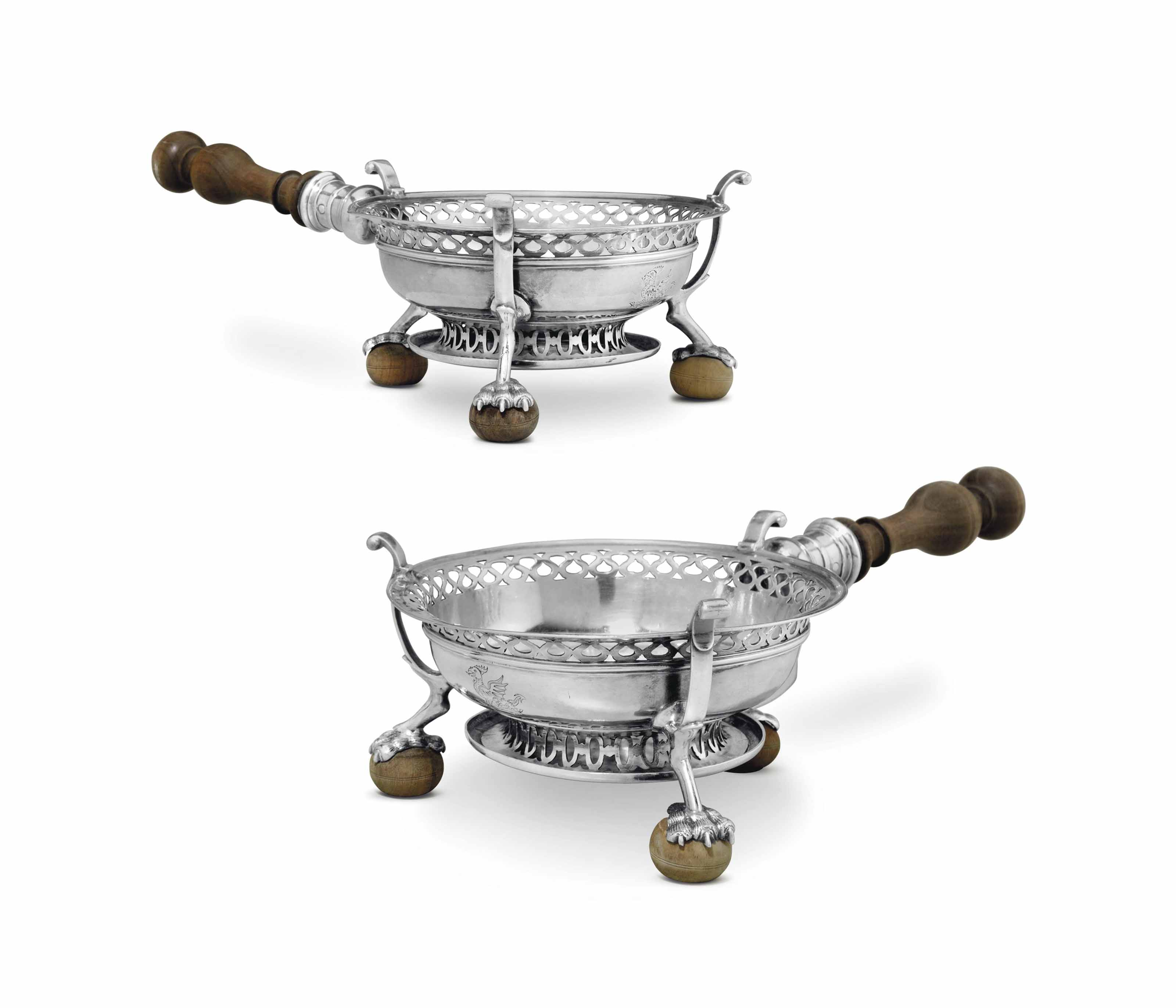 A FINE AND RARE PAIR OF SILVER CHAFING DISHES