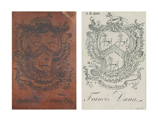 AN ENGRAVED COPPER BOOKPLATE