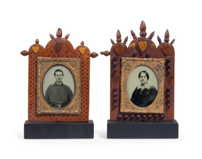 TWO CARVED AND INLAID SWEETHEA
