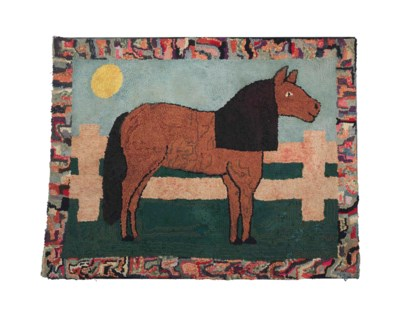 A WOOL PICTORIAL HOOKED RUG
