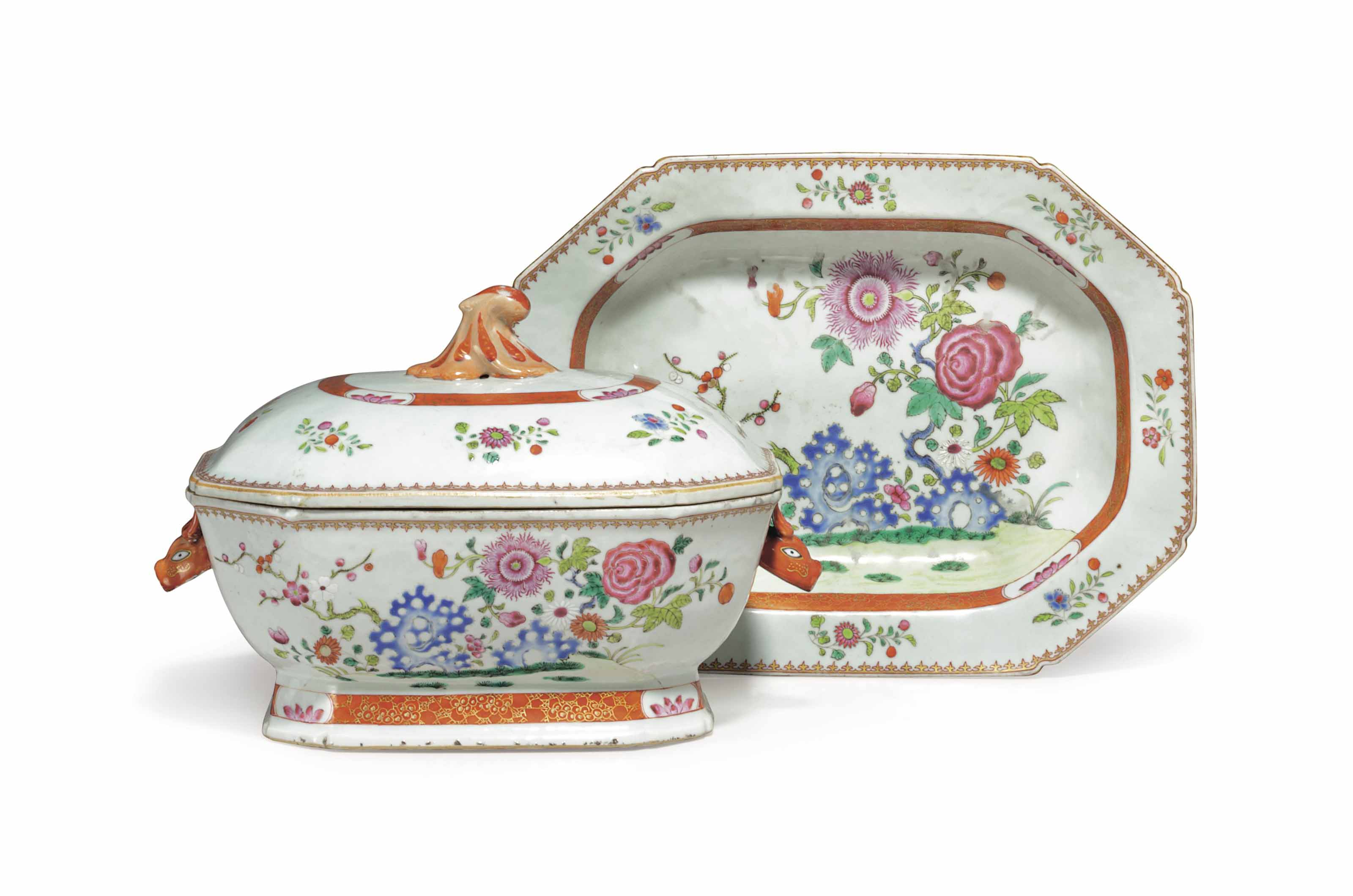 A CHINESE EXPORT PORCELAIN FAMILLE ROSE SHAPED OCTAGONAL SOUP TUREEN, COVER AND STAND