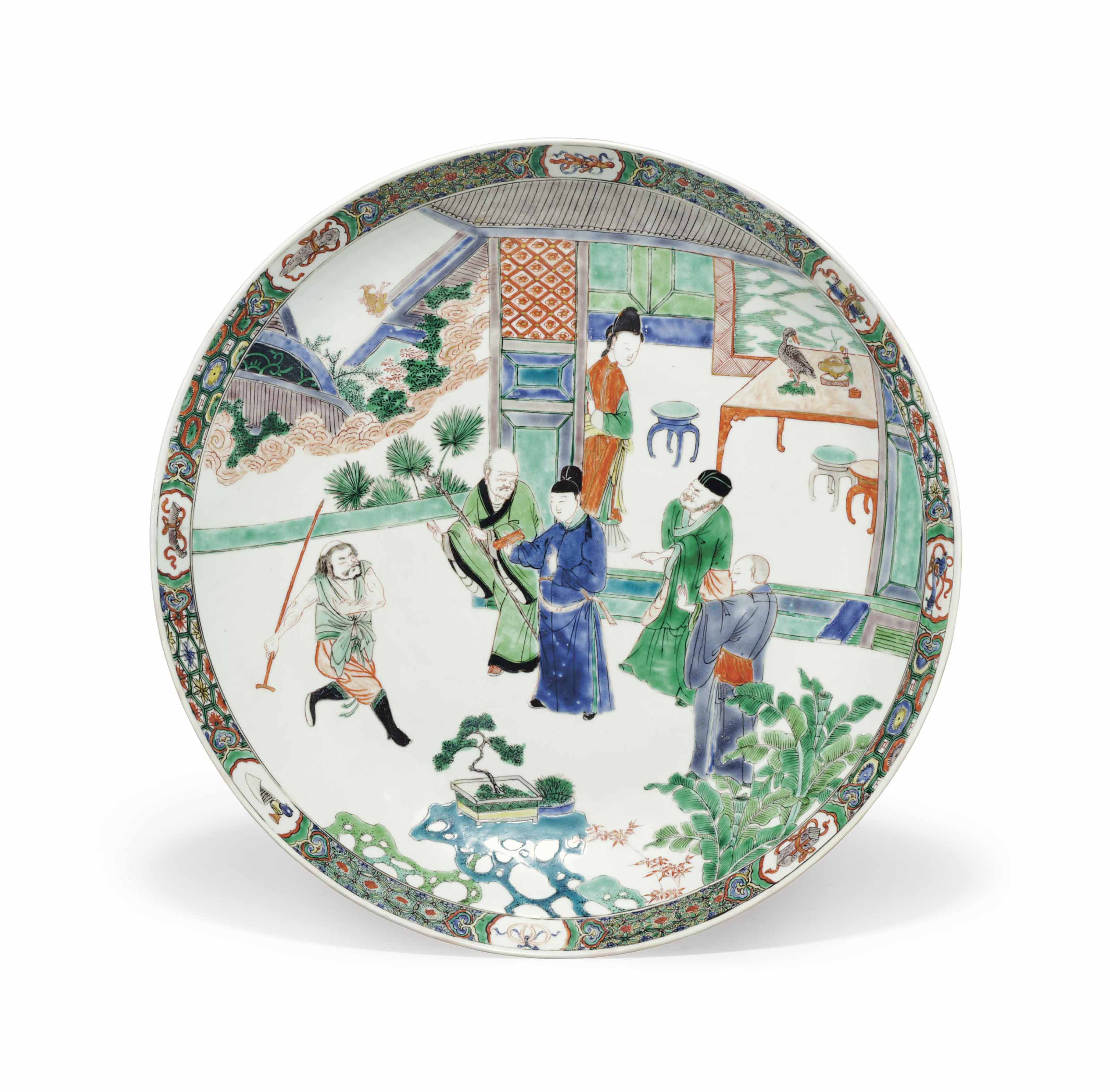 A LARGE CHINESE EXPORT PORCELAIN FAMILLE VERTE DISH
