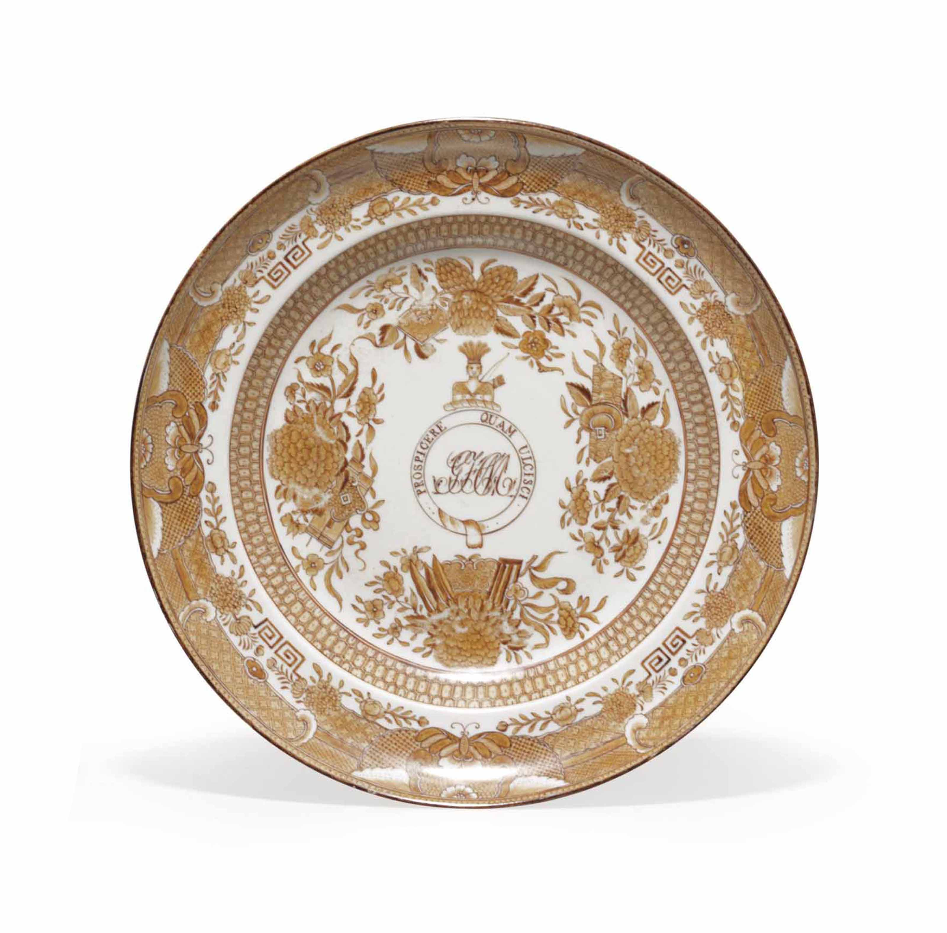 A CHINESE EXPORT PORCELAIN CRESTED AND INITIALED 'BROWN FITZHUGH' SOUP PLATE