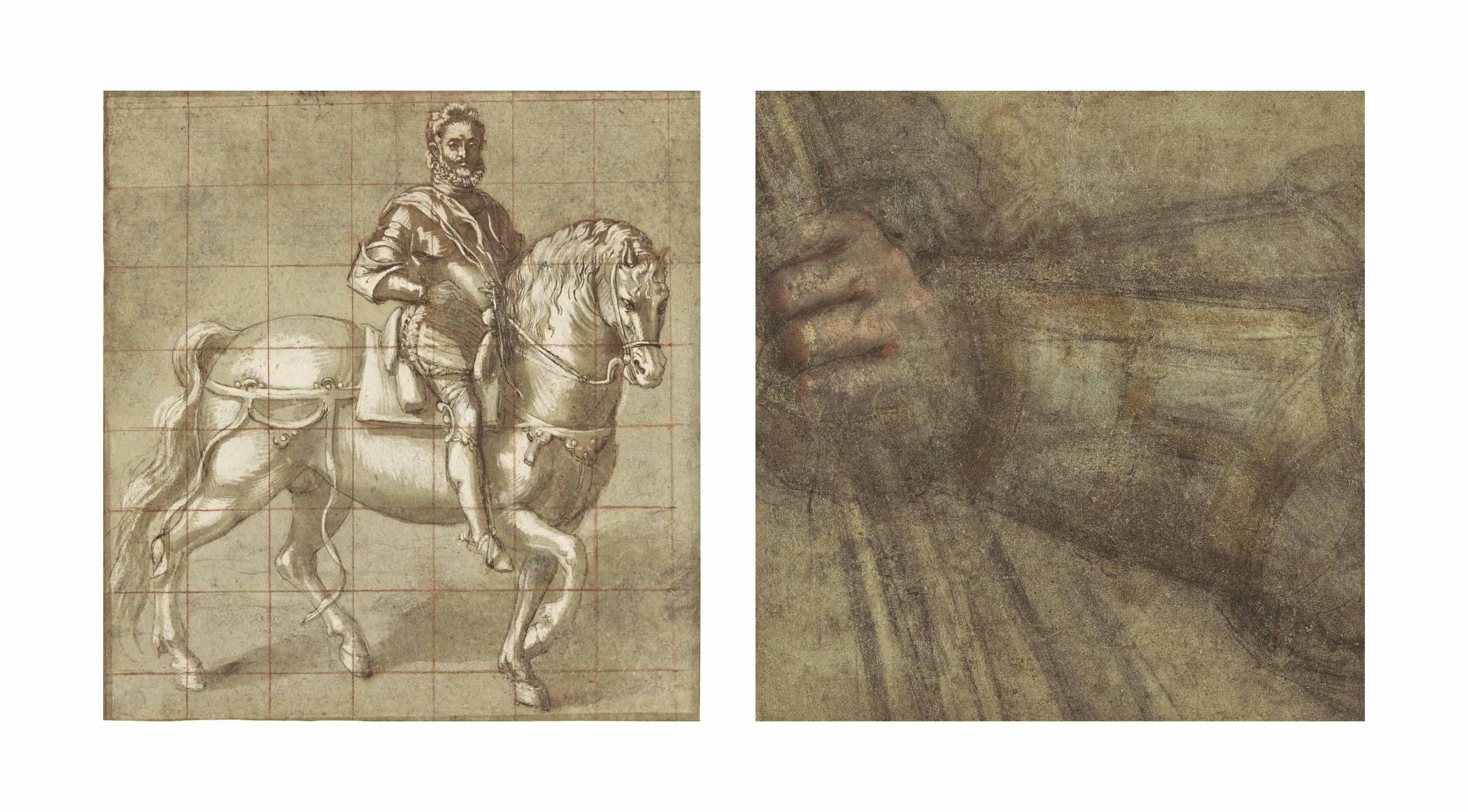 Study for an equestrian portrait of Francesco Maria II della Rovere (recto); Study for the right hand of the Duke, holding a baton (verso)