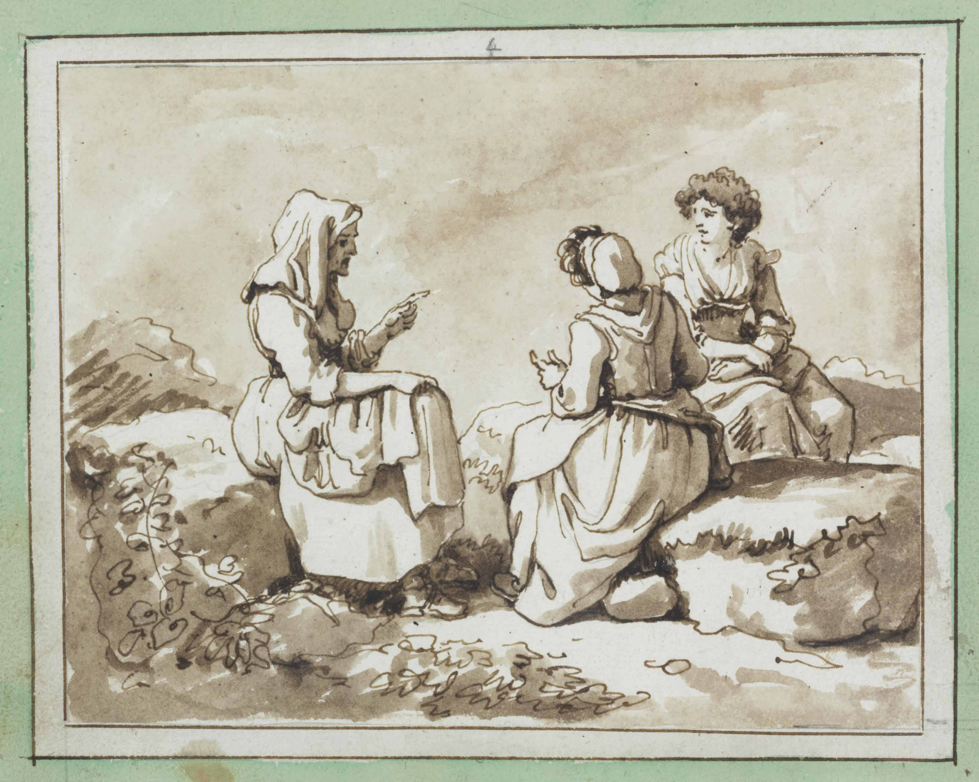 Three peasant women seated in conversation in a rocky landscape
