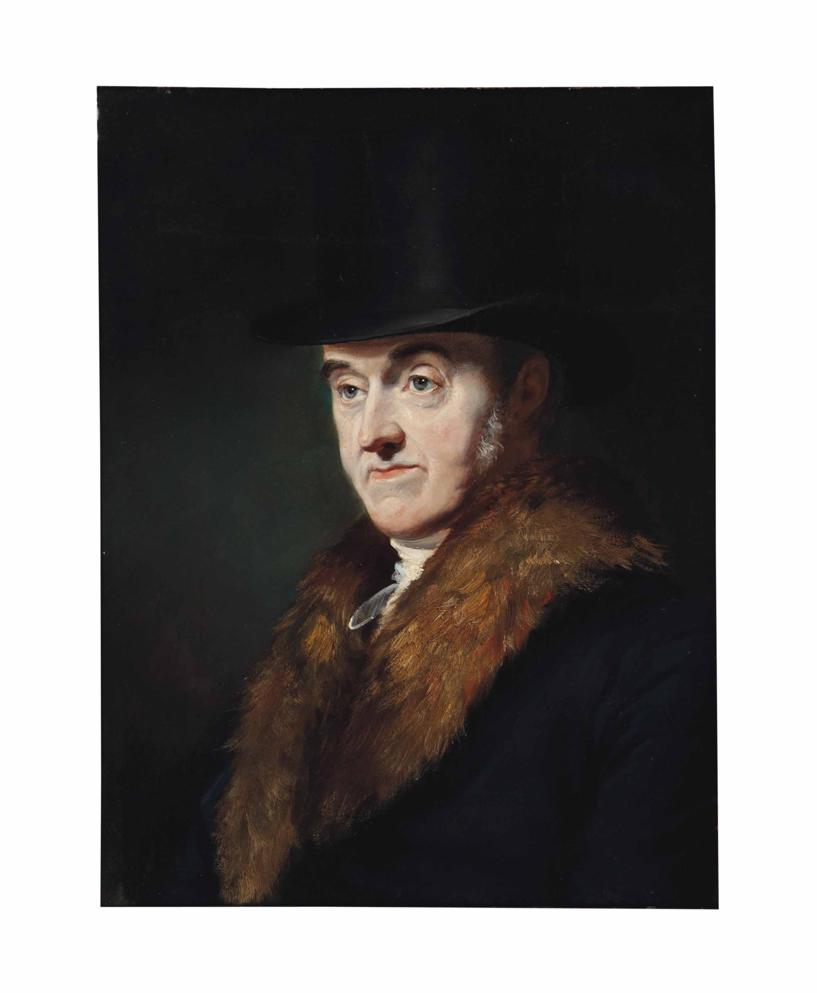 Portrait of Samuel Rogers, bust-length, in a black overcoat with a fur collar and a top hat