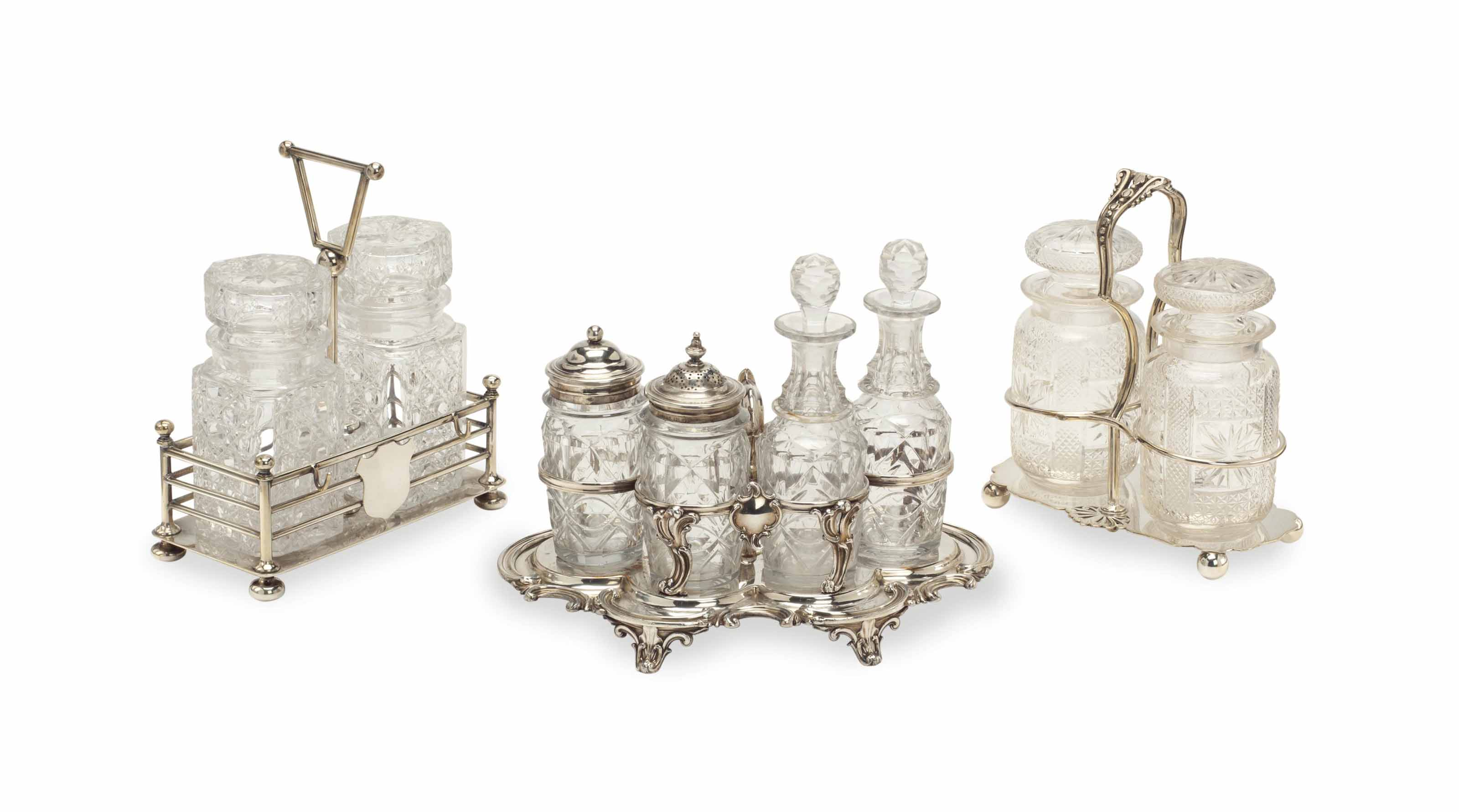 THREE CUT GLASS CONDIMENT SETS IN SILVER PLATE CADDIES, AND A SILVER PLATE BREAD BASKET,