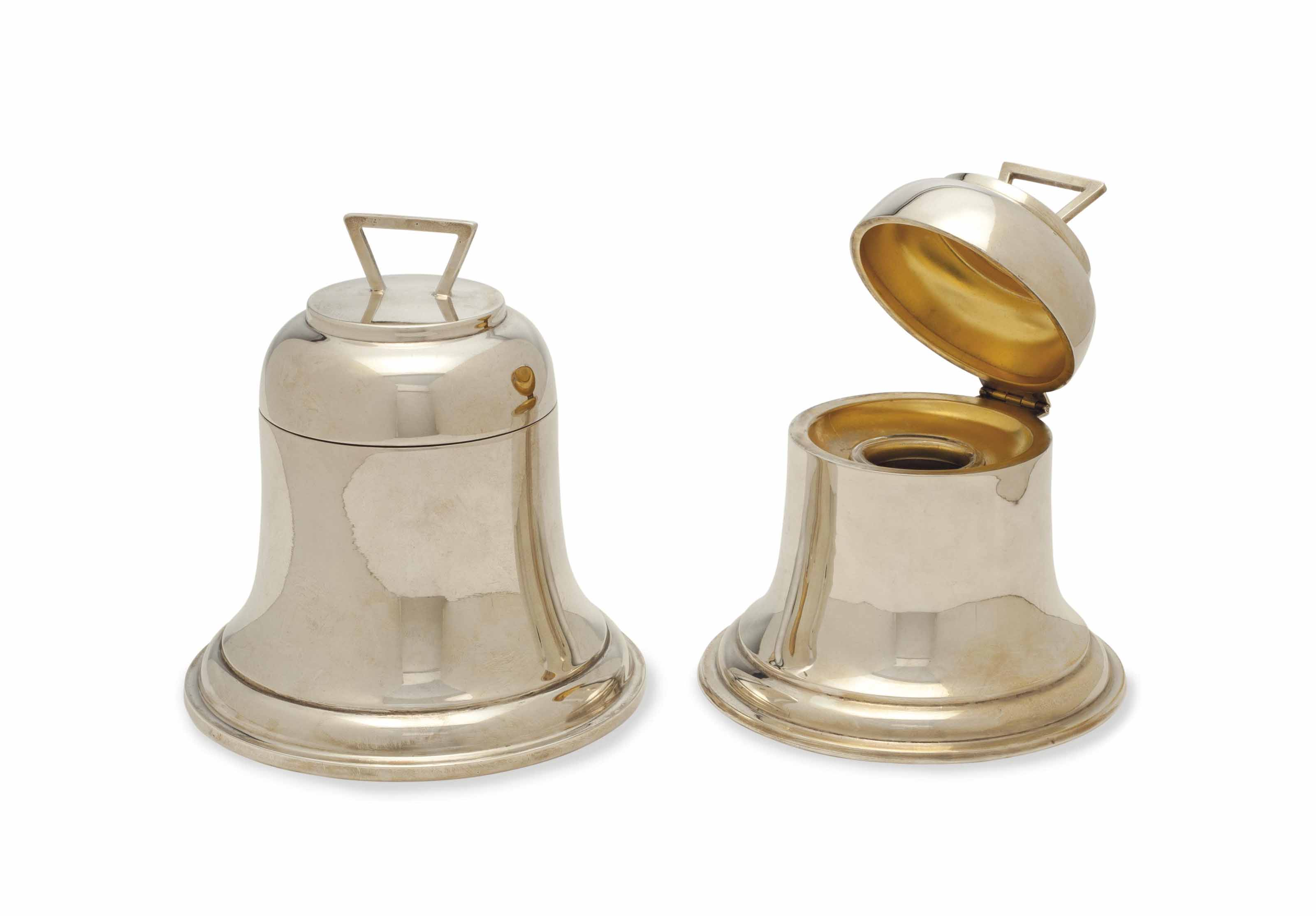 TWO ENGLISH SILVER BELL-FORM INKWELLS,