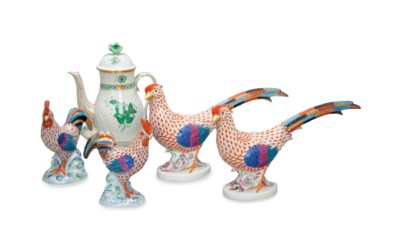 TWO PAIRS OF HUNGARIAN PORCELA