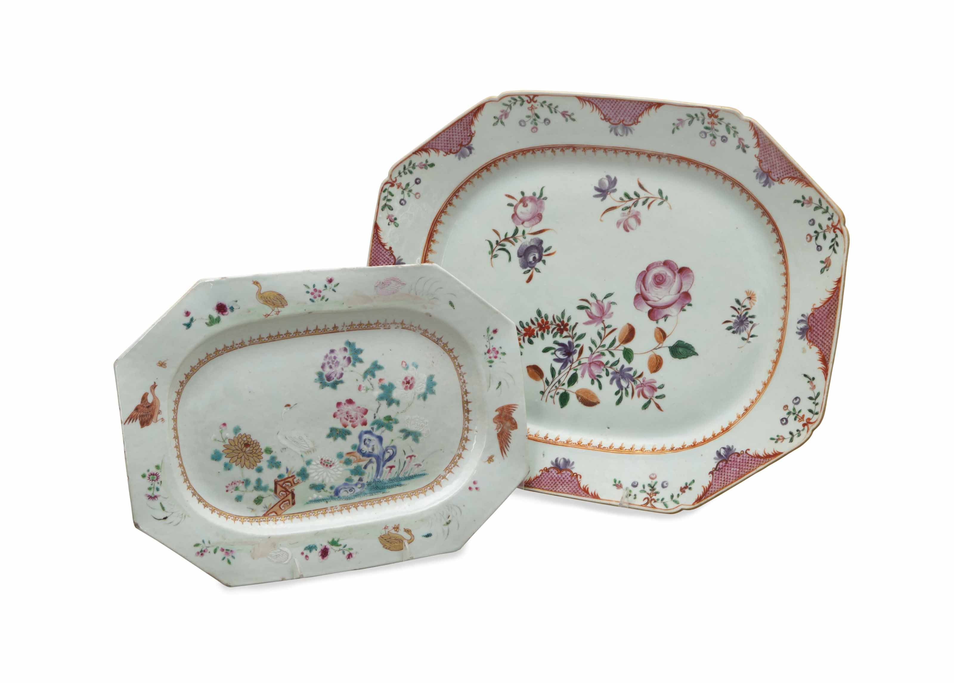 TWO CHINESE EXPORT FAMILLE ROSE OCTAGONAL PLATTERS,