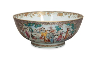 A CHINESE EXPORT PUNCH BOWL WI