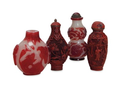 TWO CHINESE CARVED RED LACQUER