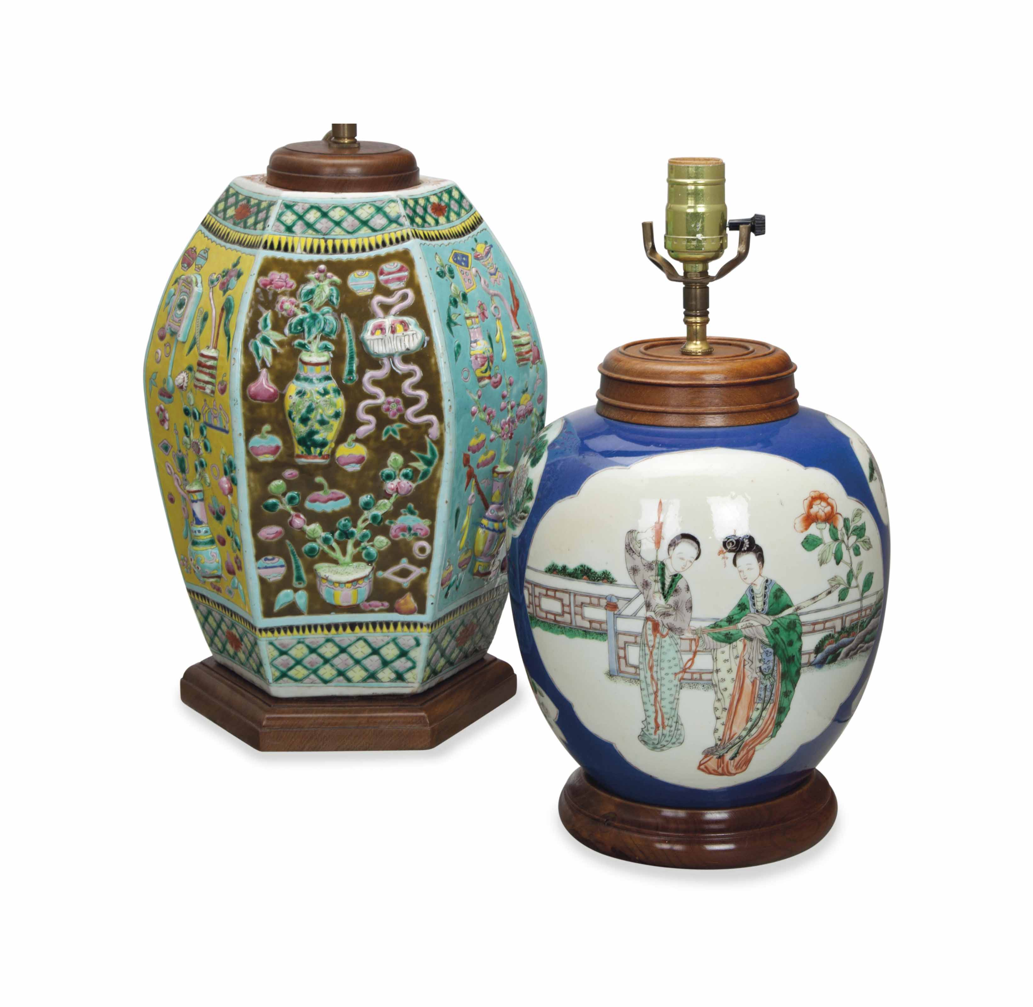 TWO CHINESE PORCELAIN JARS, MOUNTED AS LAMPS,