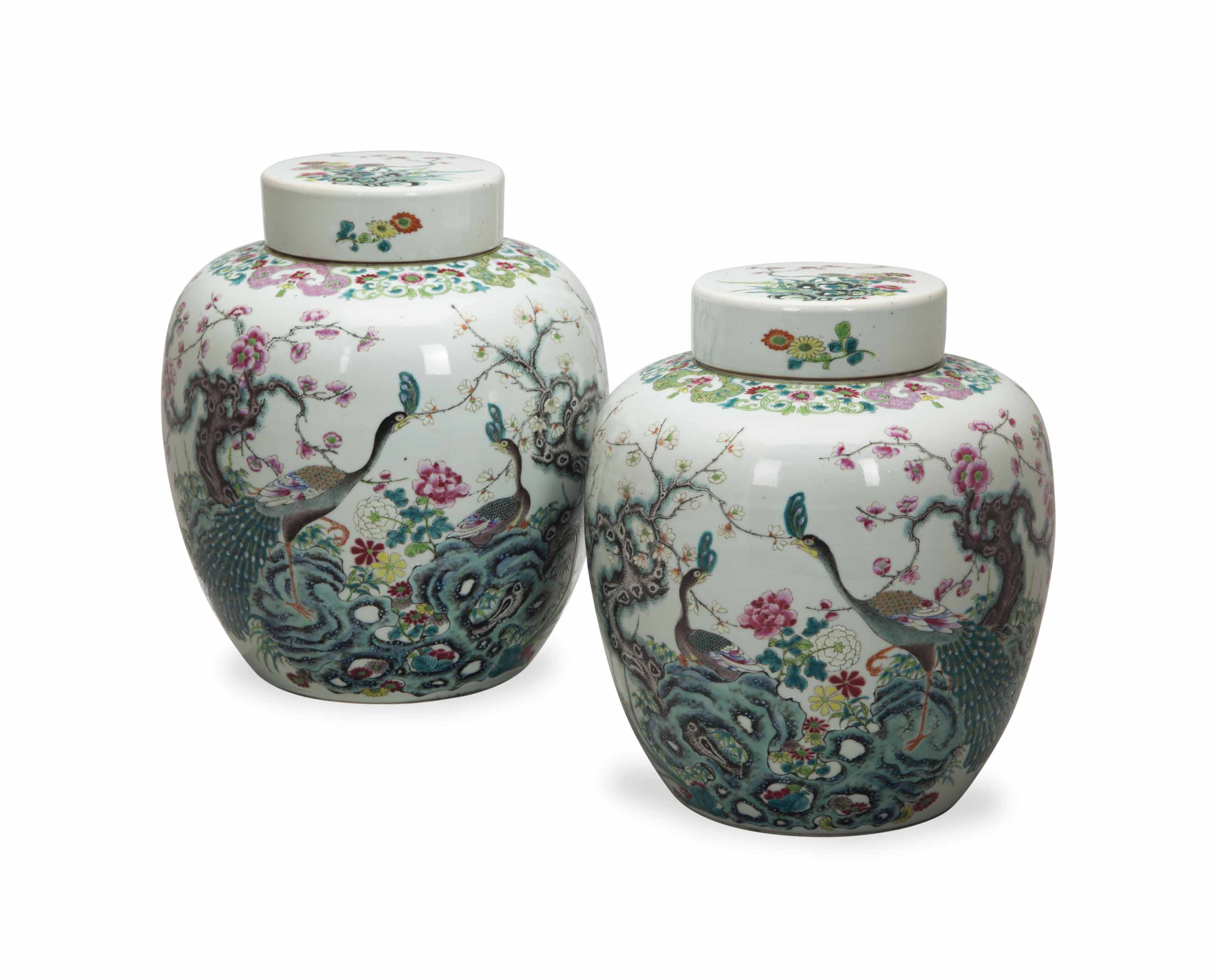 A PAIR OF CHINESE FAMILLE ROSE GINGER JARS AND COVERS,