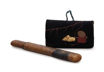 A JAPANESE TOBACCO POUCH AND A