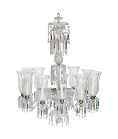 A CUT-GLASS TWELVE-LIGHT LARGE