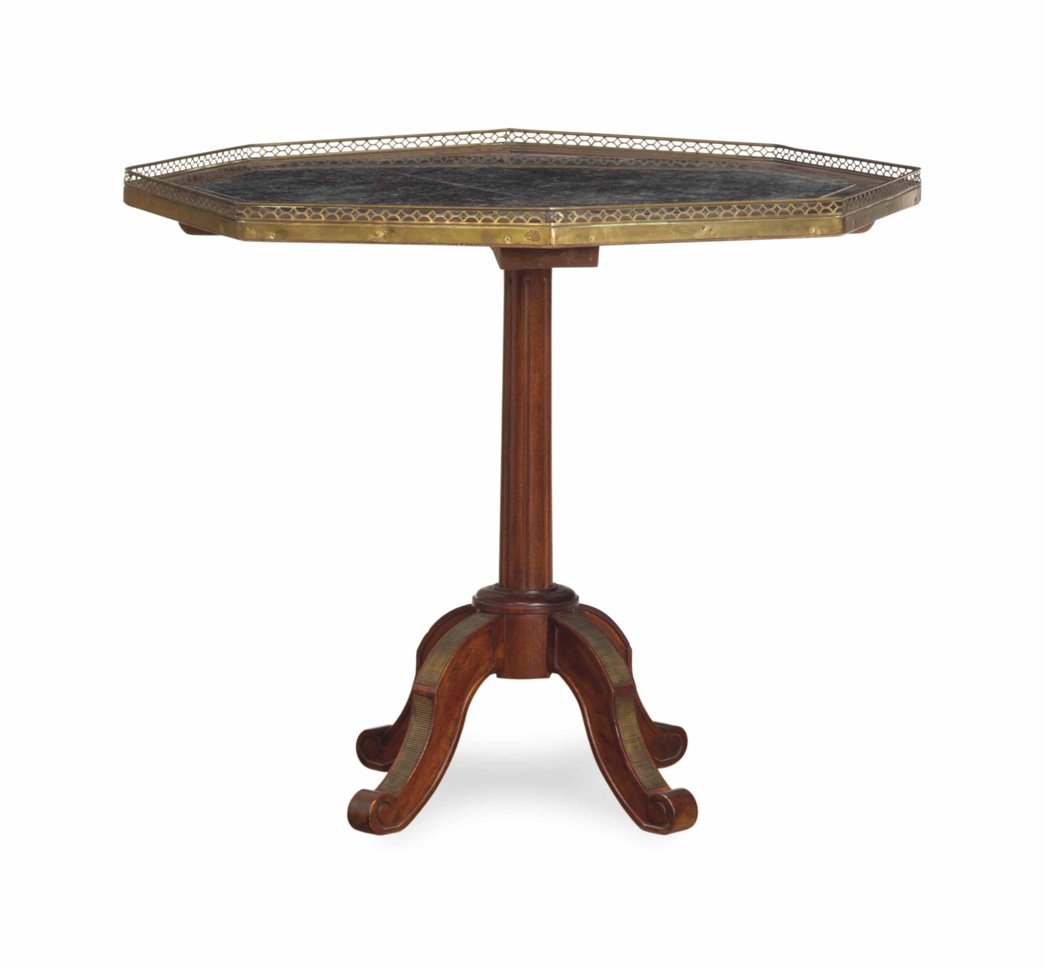 A DIRECTOIRE BRASS-MOUNTED AND MARBLE-INSET MAHOGANY OCTAGONAL CENTER TABLE,