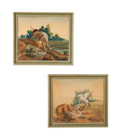 A SET OF FOUR FRENCH TAPESTRY