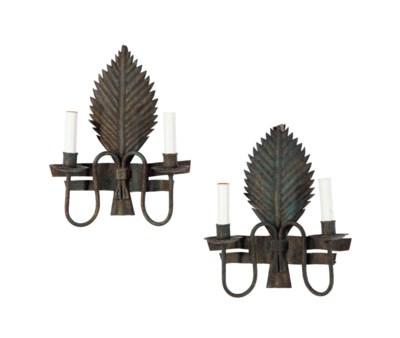 A PAIR OF WROUGHT IRON TWO-LIG