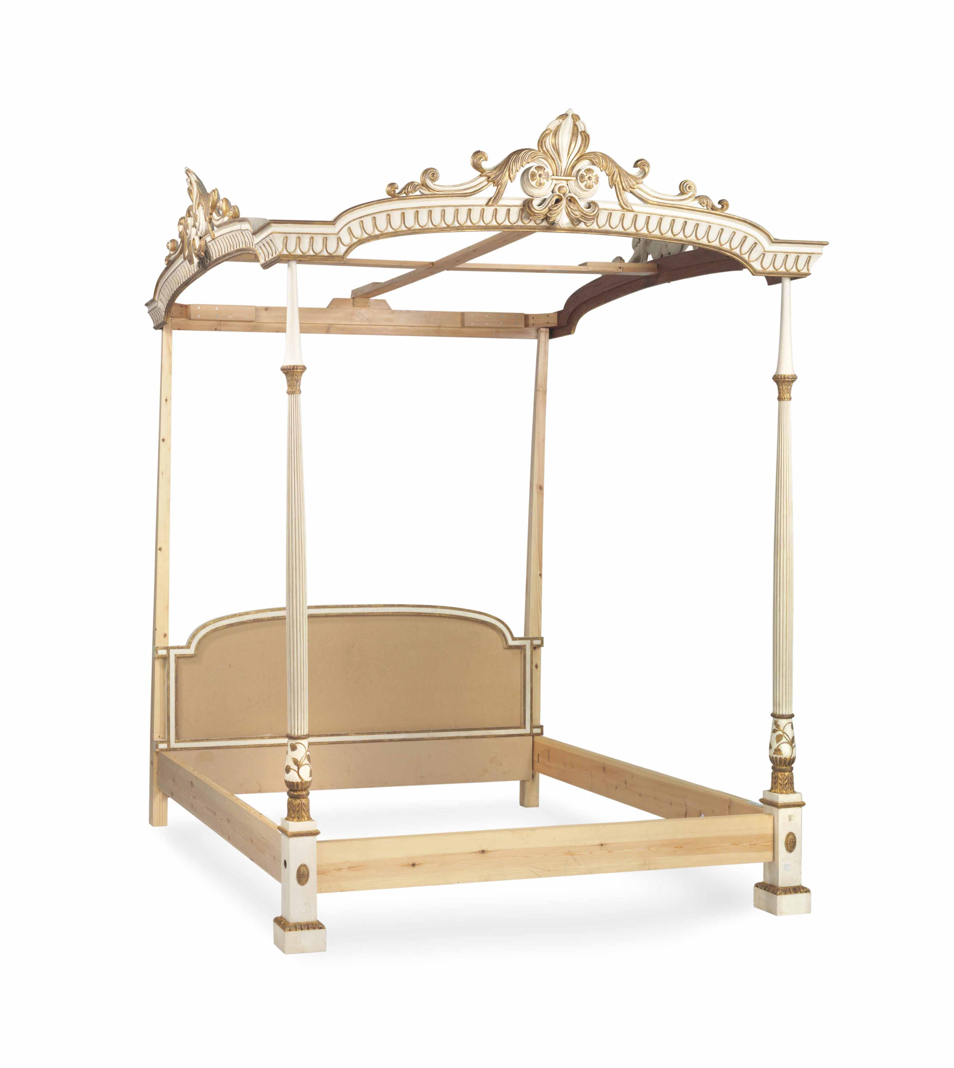A GEORGE III STYLE WHITE PAINTED AND PARCEL GILT TESTER BED,