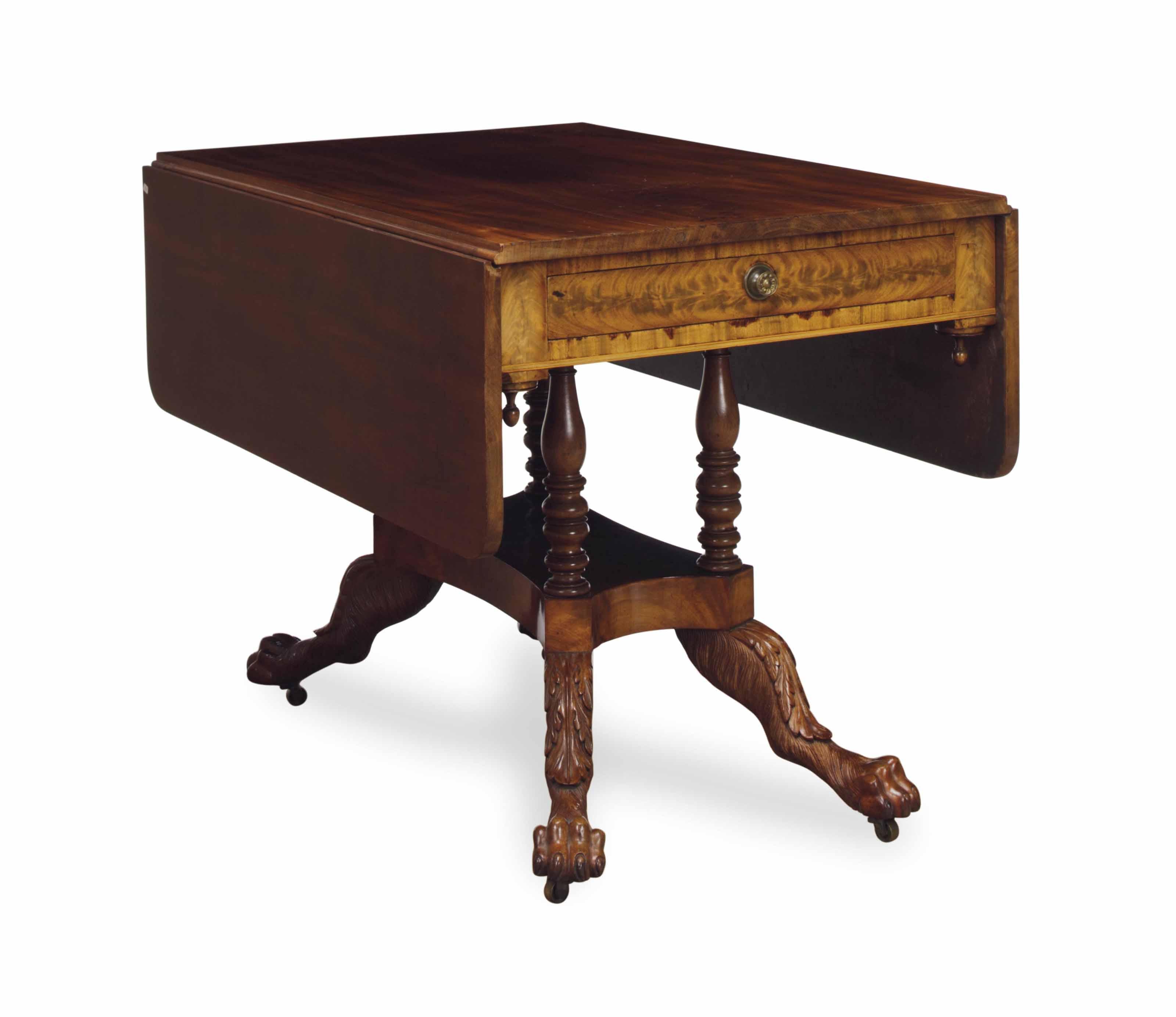 A CLASSICAL MAHOGANY PEMBROKE TABLE,