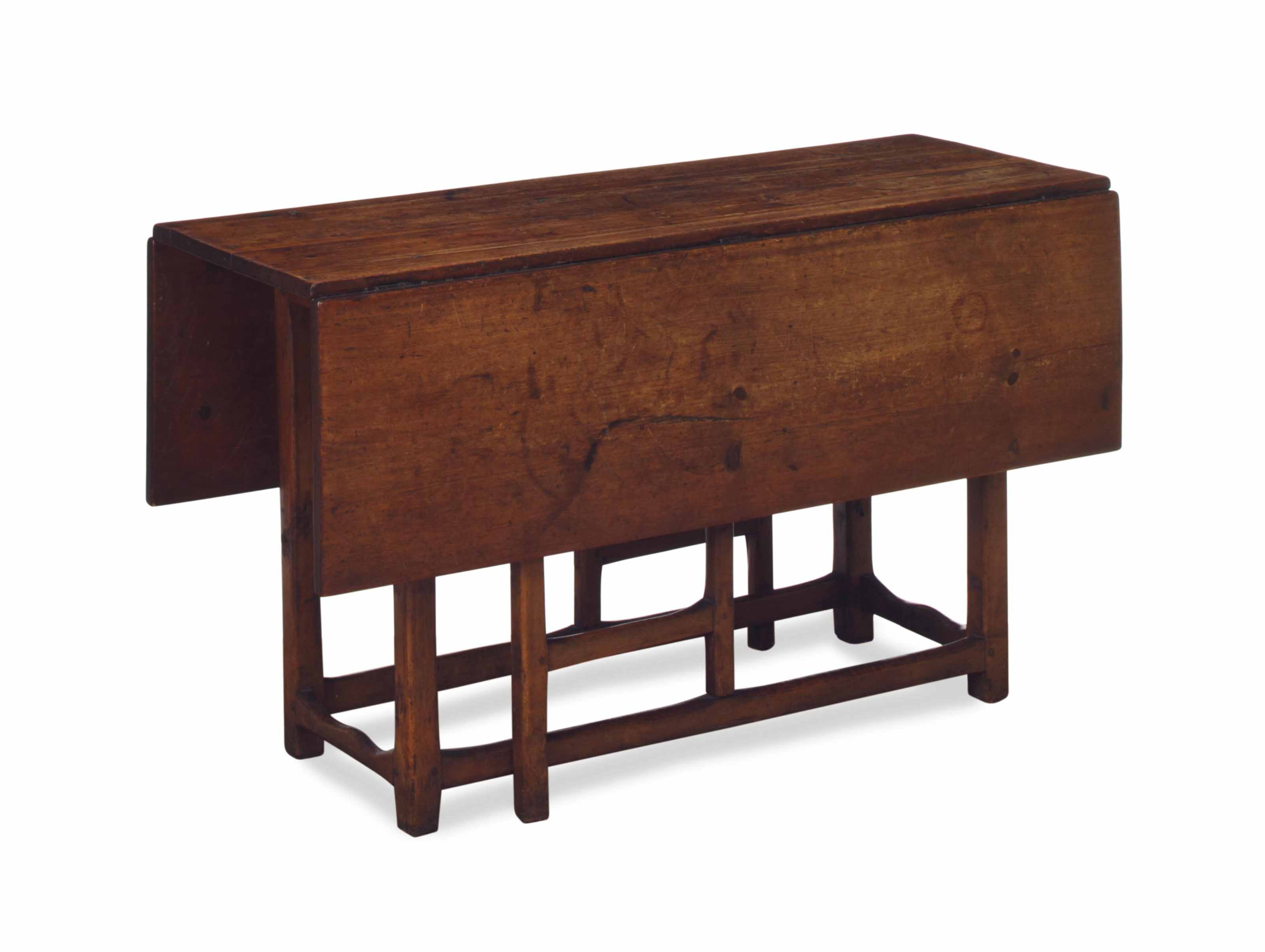 AN ENGLISH WALNUT AND FRUITWOOD PEMBROKE TABLE,
