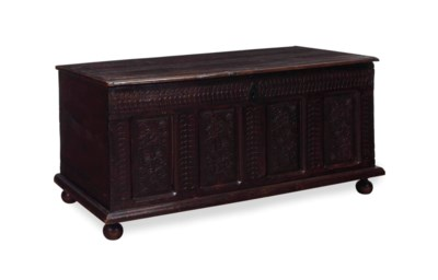 AN ENGLISH OAK CHEST,