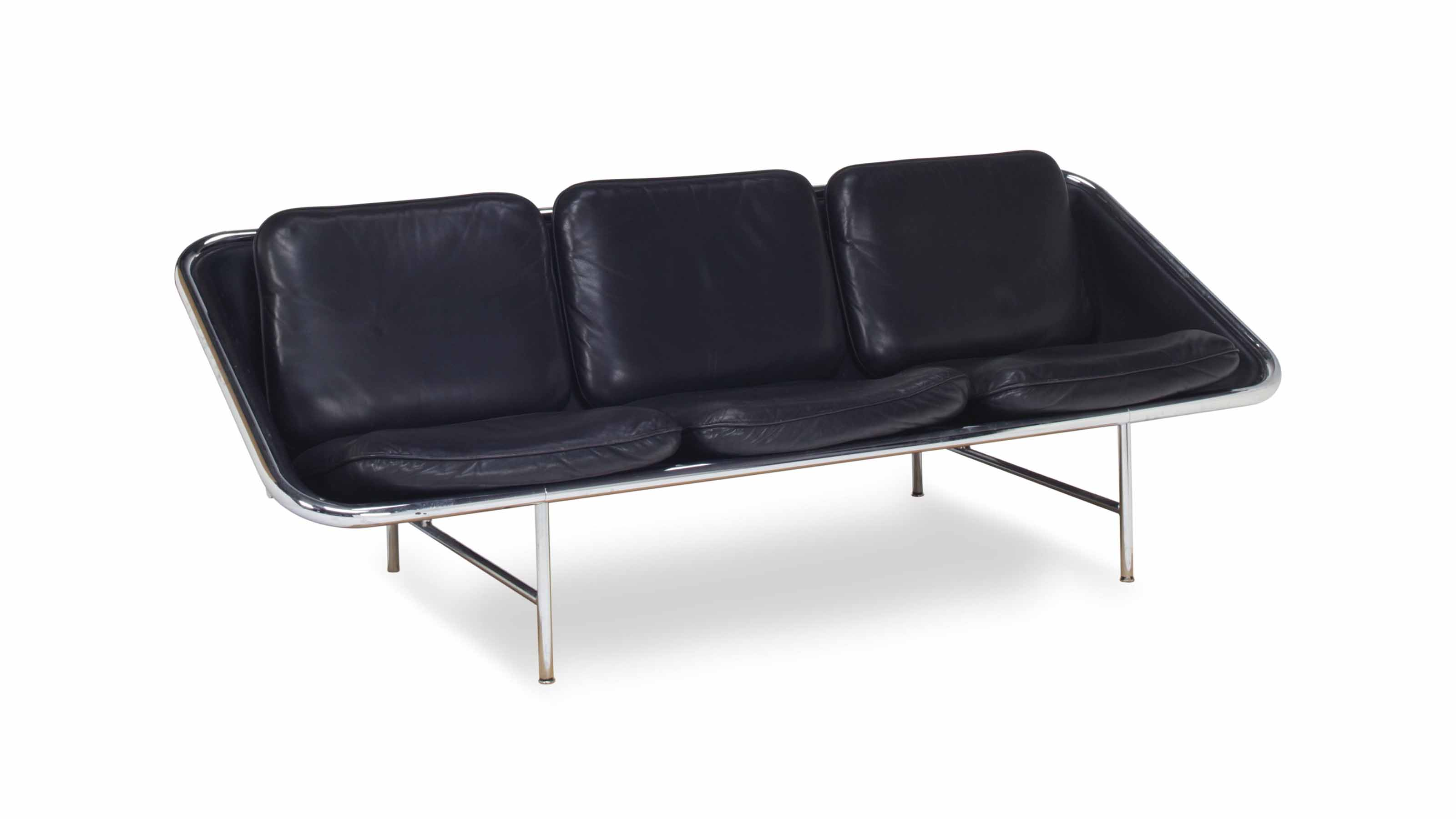 A CHROMIUM-PLATED TUBULAR STEEL AND BLACK LEATHER 'SLING' SOFA,