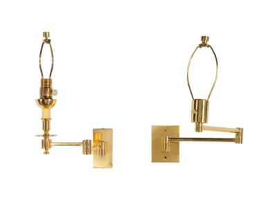 FOUR PAIRS OF BRASS SWING-ARM