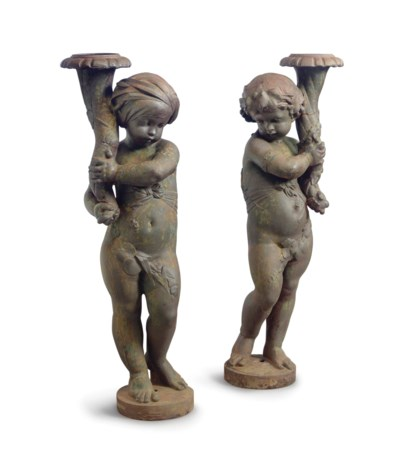A PAIR OF FRENCH CAST-IRON FIG