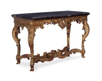 A REGENCE GILTWOOD MARBLE-TOP